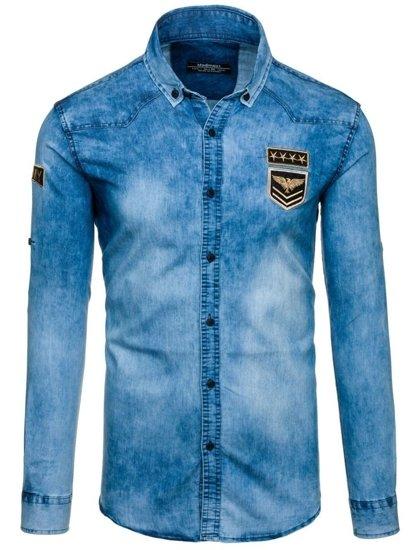 Bolf Herren Jeanshemd Langarm Blau  0992
