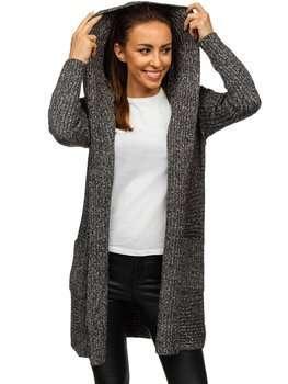 Bolf Damen Pullover Cardigan Schwarz  MM1806