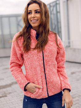 Bolf Damen Fleece Sweatshirt ohne Kapuze Rot  HH009