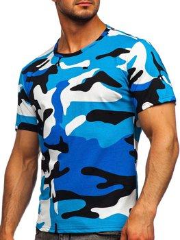 Bolf Herren Baumwoll T-Shirt mit Motiv Camo Türkis  14930