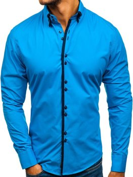Bolf Herren Hemd Elegant Langarm Blau  1721-A