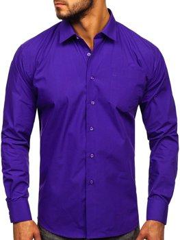 Bolf Herren Hemd Elegant Langarm Violett  0003