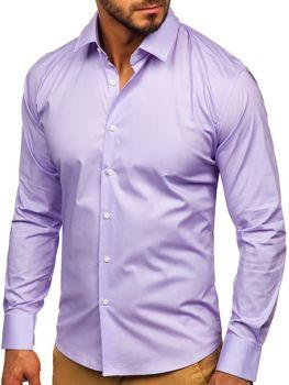 Bolf Herren Hemd Elegant Langarm Violett  TS50