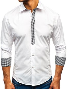 Bolf Herren Hemd Elegant Langarm Weiß 0939