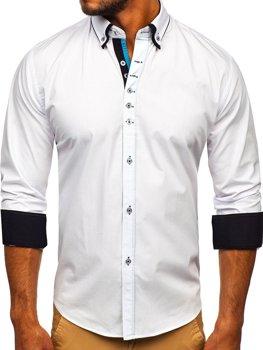Bolf Herren Hemd Elegant Langarm Weiß  3708