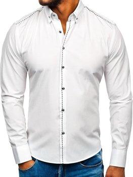 Bolf Herren Hemd Elegant Langarm Weiß  6920