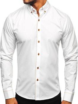 Bolf Herren Hemd Elegant Langarm Weiß  6964