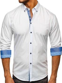Bolf Herren Hemd Elegant Langarm Weiß  8838
