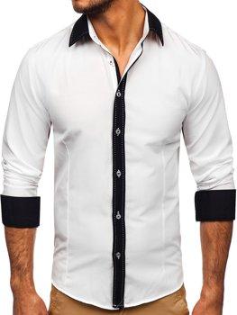Bolf Herren Hemd Langarm Elegant Weiß 6882
