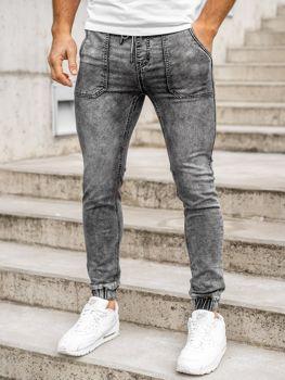Bolf Herren Jeanshose Jogger Pants Schwarz  KA1860-1