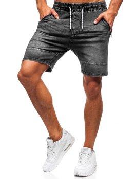 Bolf Herren Kurze Jeanshose Schwarzgrau  KK103
