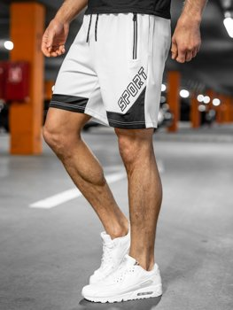 Bolf Herren Kurze Sporthose Weiß  KS2606