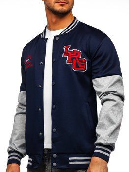 Bolf Herren Leichte Sweatshirt-Jacke ohne Kapuze College Baseball Jacke Dunkelblau  B10158