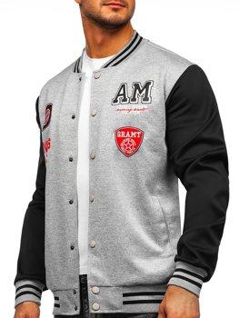 Bolf Herren Leichte Sweatshirt-Jacke ohne Kapuze College Baseball Jacke Grau  B10155