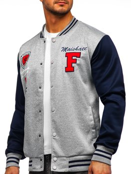 Bolf Herren Leichte Sweatshirt-Jacke ohne Kapuze College Baseball Jacke Grau  B10160