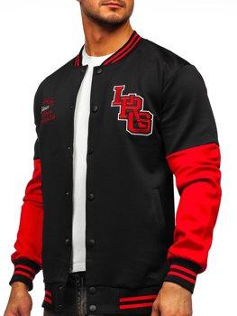 Bolf Herren Leichte Sweatshirt-Jacke ohne Kapuze College Baseball Jacke Schwarz  B10158