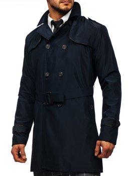 Bolf Herren Mantel Zweireihig Trenchcoat mit Stehkragen und Gürtel Dunkelblau  0001