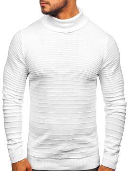 Bolf Herren Pullover Rollkragen Weiß  4518