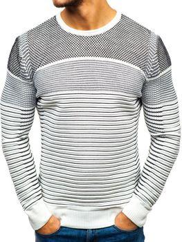 Bolf Herren Pullover Weiß-Schwarz  1015