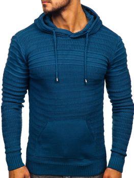 Bolf Herren Pullover mit Kapuze Blau  7003