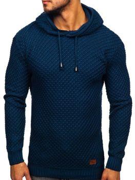 Bolf Herren Pullover mit Kapuze Blau  7004