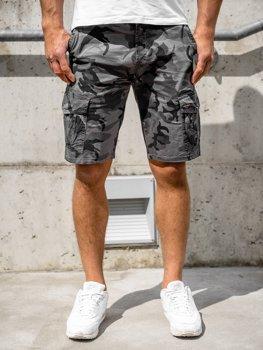 Bolf Herren Shorts Kurze Hose Cargohose Camo Grau  6137