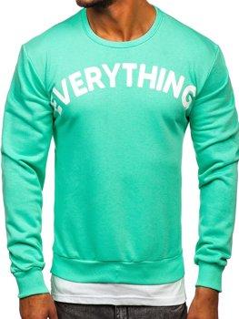 Bolf Herren Sweatshirt mit Motiv ohne Kapuze Mintgrün  181905