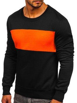 Bolf Herren Sweatshirt ohne Kapuze Schwarz-Orange 2020