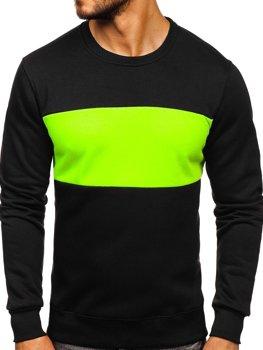 Bolf Herren Sweatshirt ohne Kapuze Schwarz-Seladongrün  2010