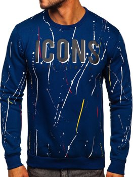 Bolf Herren Sweatshirt ohne Kapuze mit Motiv Blau  146058