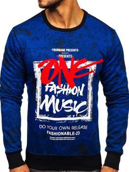 Bolf Herren Sweatshirt ohne Kapuze mit Motiv Blau DD637