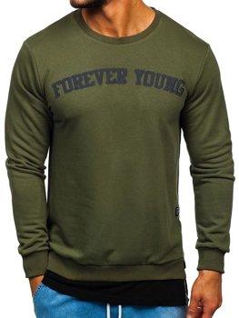 Bolf Herren Sweatshirt ohne Kapuze mit Motiv FOREVER YOUNG Khaki 11116