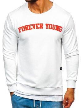Bolf Herren Sweatshirt ohne Kapuze mit Motiv FOREVER YOUNG Weiß 11116