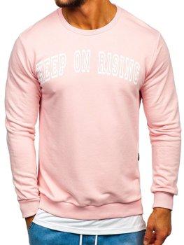 Bolf Herren Sweatshirt ohne Kapuze mit Motiv Rosa  11114