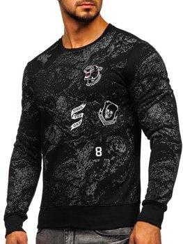 Bolf Herren Sweatshirt ohne Kapuze mit Motiv Schwarz  DD116