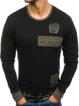 Bolf Herren Sweatshirt ohne Kapuze mit Motiv Schwarz  NRT535