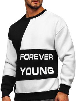 Bolf Herren Sweatshirt ohne Kapuze mit Motiv Schwarz-Weiß  0003