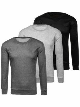Bolf Herren Sweatshirt ohne Kapuze multikolor  22003-3P 3 PACK