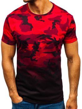 Bolf Herren T-Shirt mit Aufdruck Camo-Rot  S808