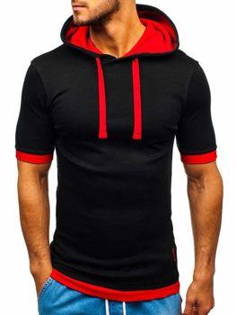 Bolf Herren T-Shirt mit Kapuze Schwarz-Rot  08-1