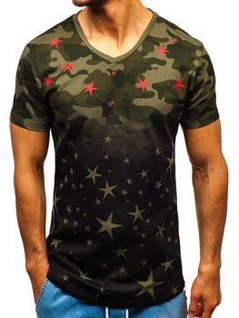 Bolf Herren T-Shirt mit Motiv Camo Schwarz-Grün  324