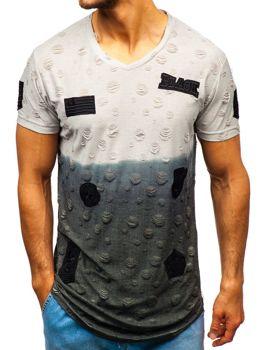 Bolf Herren T-Shirt mit Motiv Grau  318