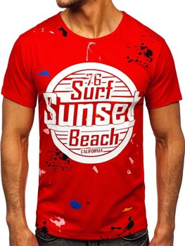 Bolf Herren T-Shirt mit Motiv Rot  KS2390