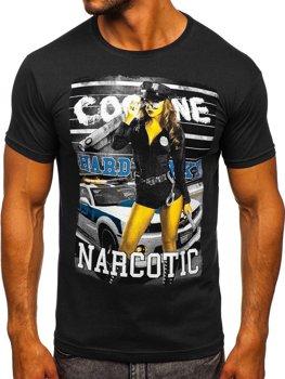 Bolf Herren T-Shirt mit Motiv Schwarz  004
