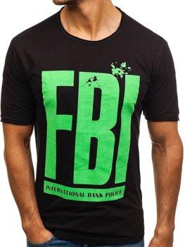 Bolf Herren T-Shirt mit Motiv Schwarz  6295
