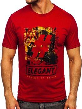 Bolf Herren T-Shirt mit Motiv Weinrot  14456