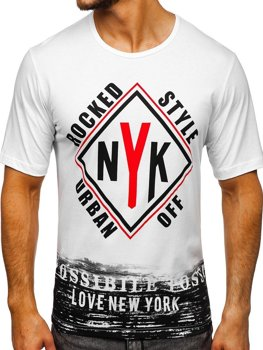 Bolf Herren T-Shirt mit Motiv Weiß  6305