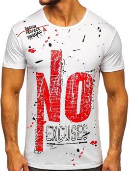 Bolf Herren T-Shirt mit Motiv Weiß JS1856