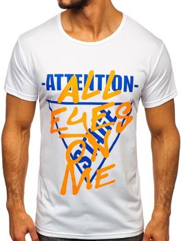 Bolf Herren T-Shirt mit Motiv Weiß  KS1995
