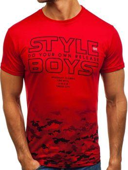 Bolf Herren T-Shirt mit Motiv czerwony  0010